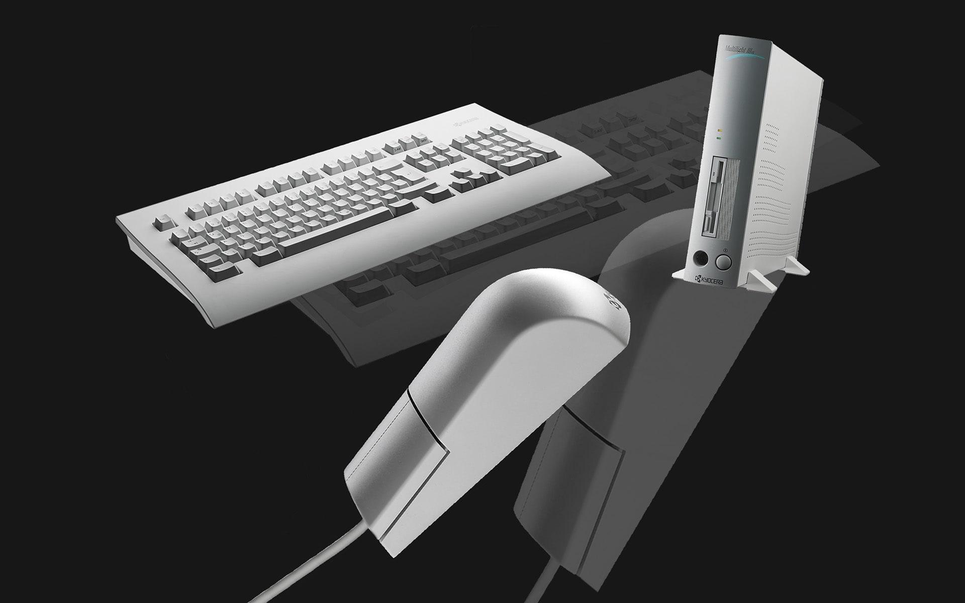 Computereinheit mit Tastatur und Maus von ITO Design für Kyocera, 1991 entworfen