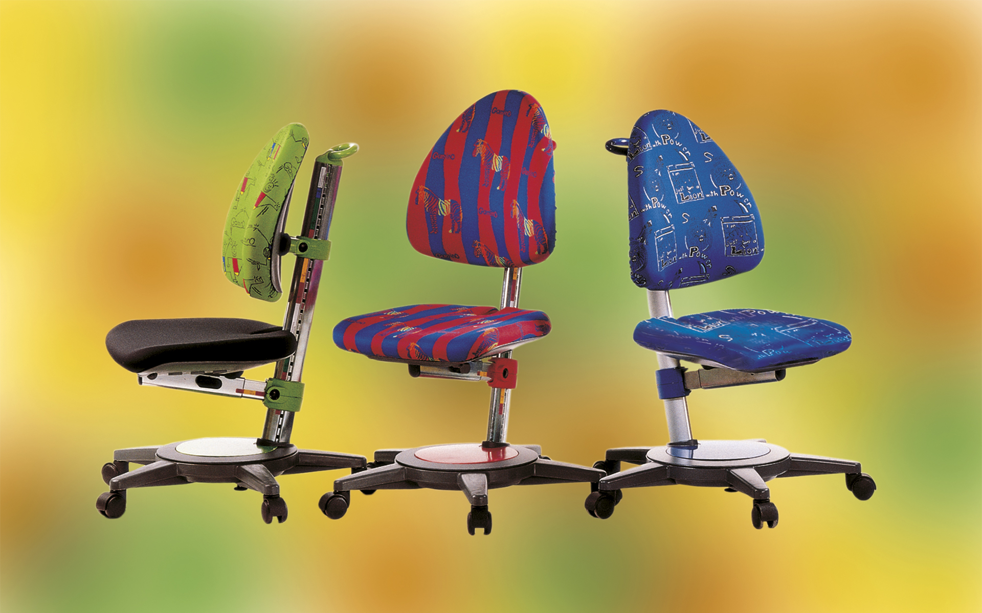 Three Moll Gamino children's desk chairs by ITO Design with colorful upholstery