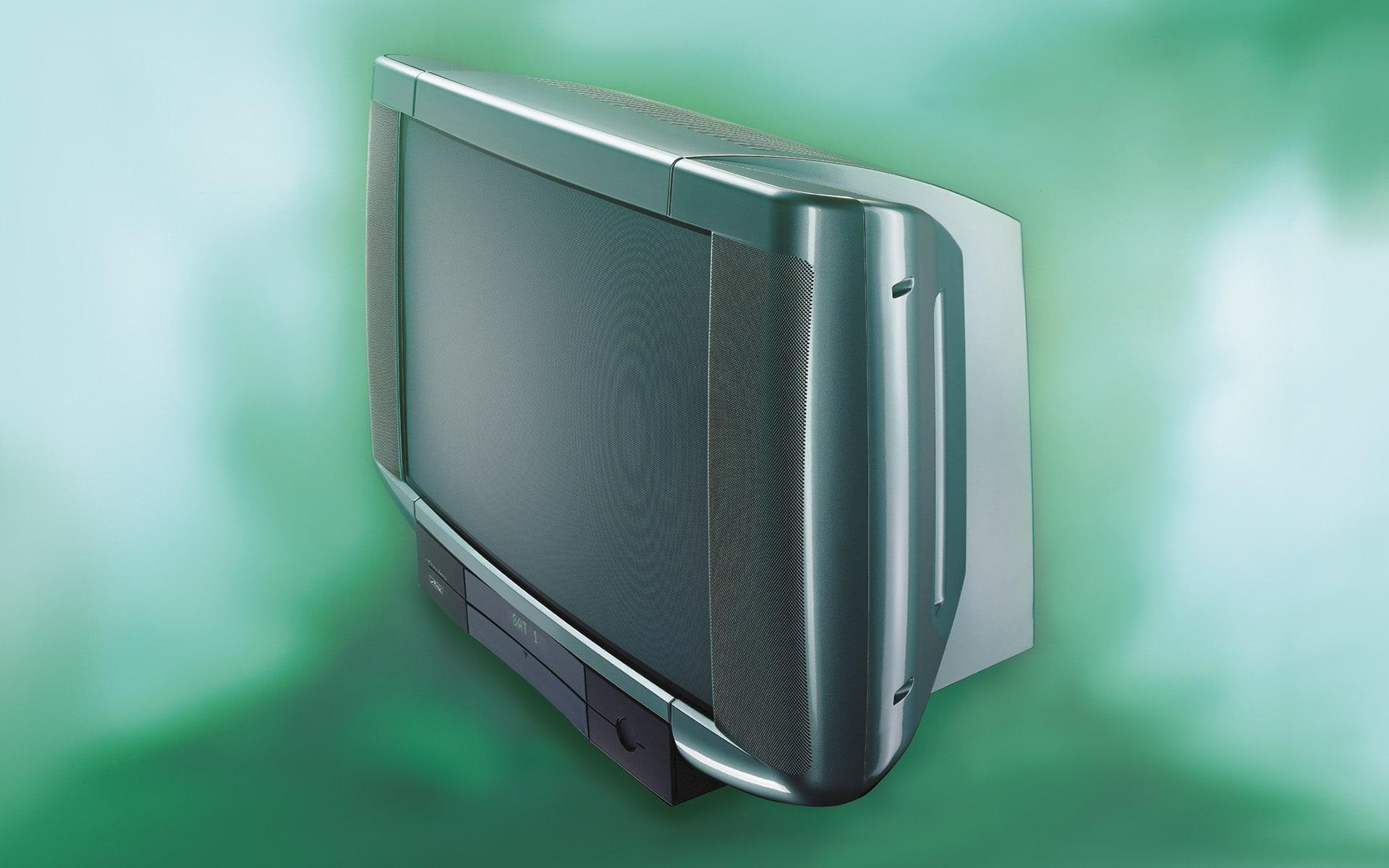 Grüngrauer Fernseher Varioline für Metz von ITO Design, 1997 entworfen