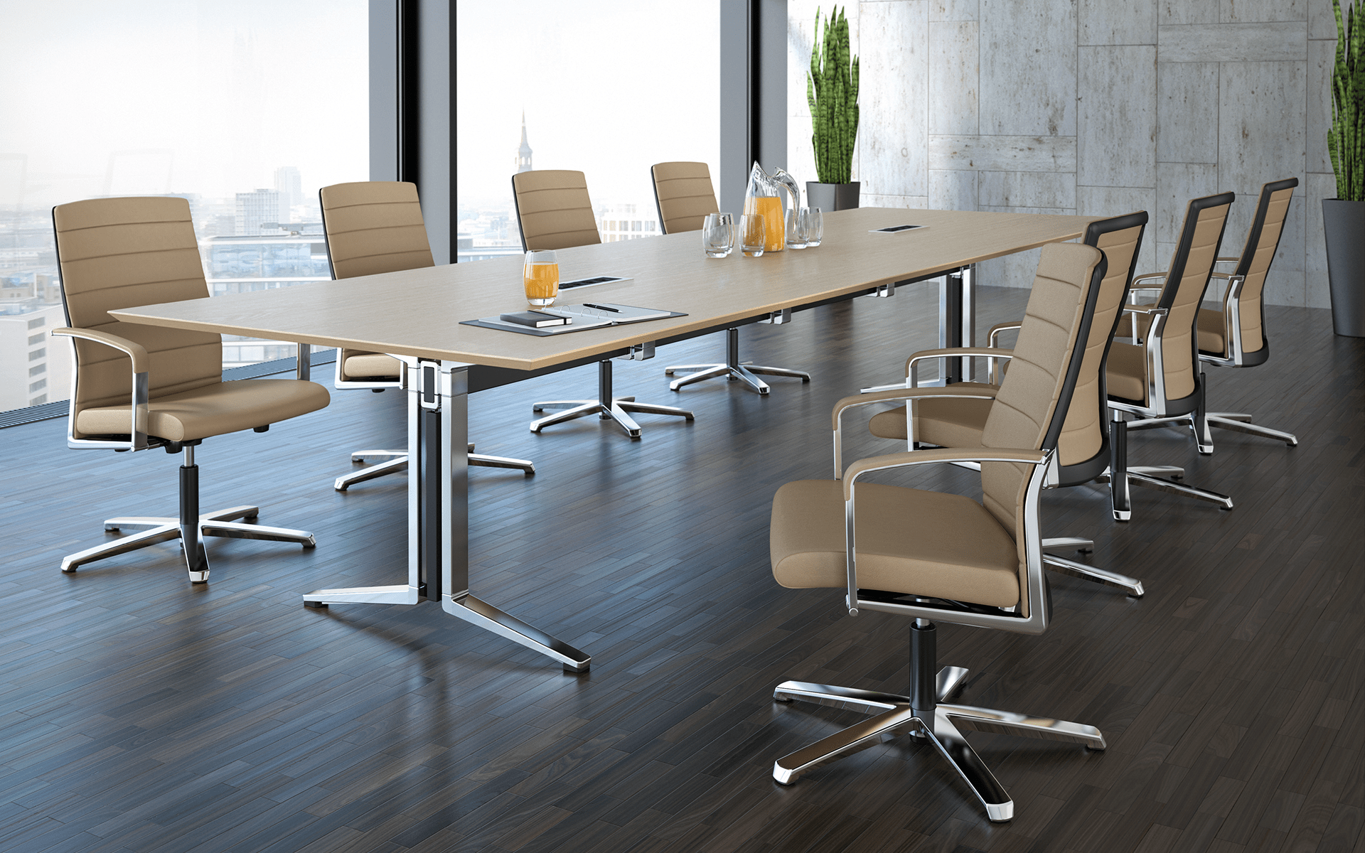 Modern conference hall, furnished with K+N Agenda conference chairs by ITO Design in beige