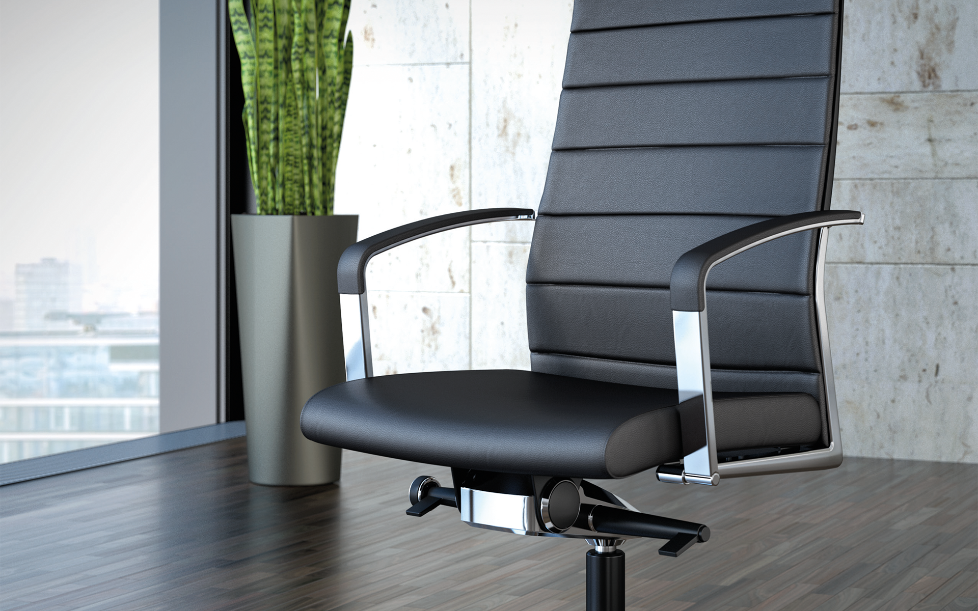 Close-up of black K+N Agenda conference chairs by ITO Design with mesh backrests