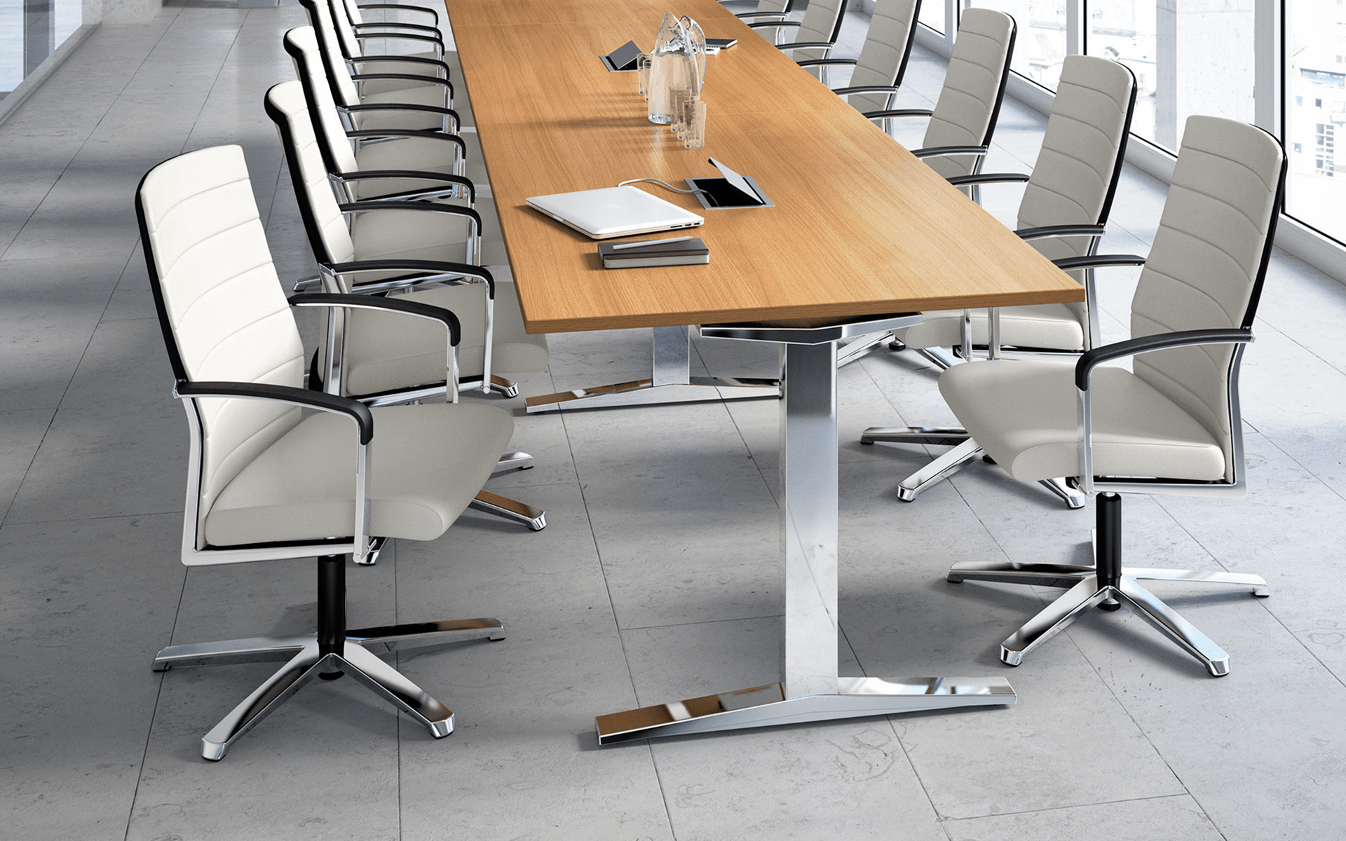 Light-colored K+N Agenda conference chairs by ITO Design in light-flooded conference room