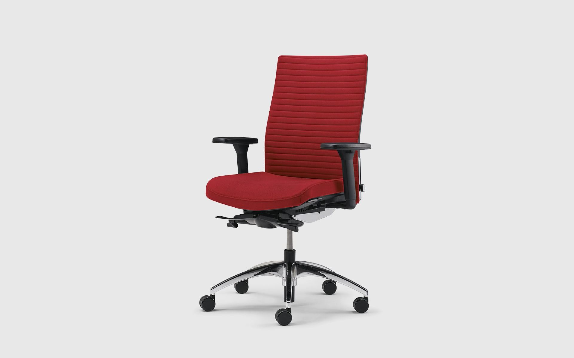 K+N Okay II revolving chair by ITO Design with red upholstery