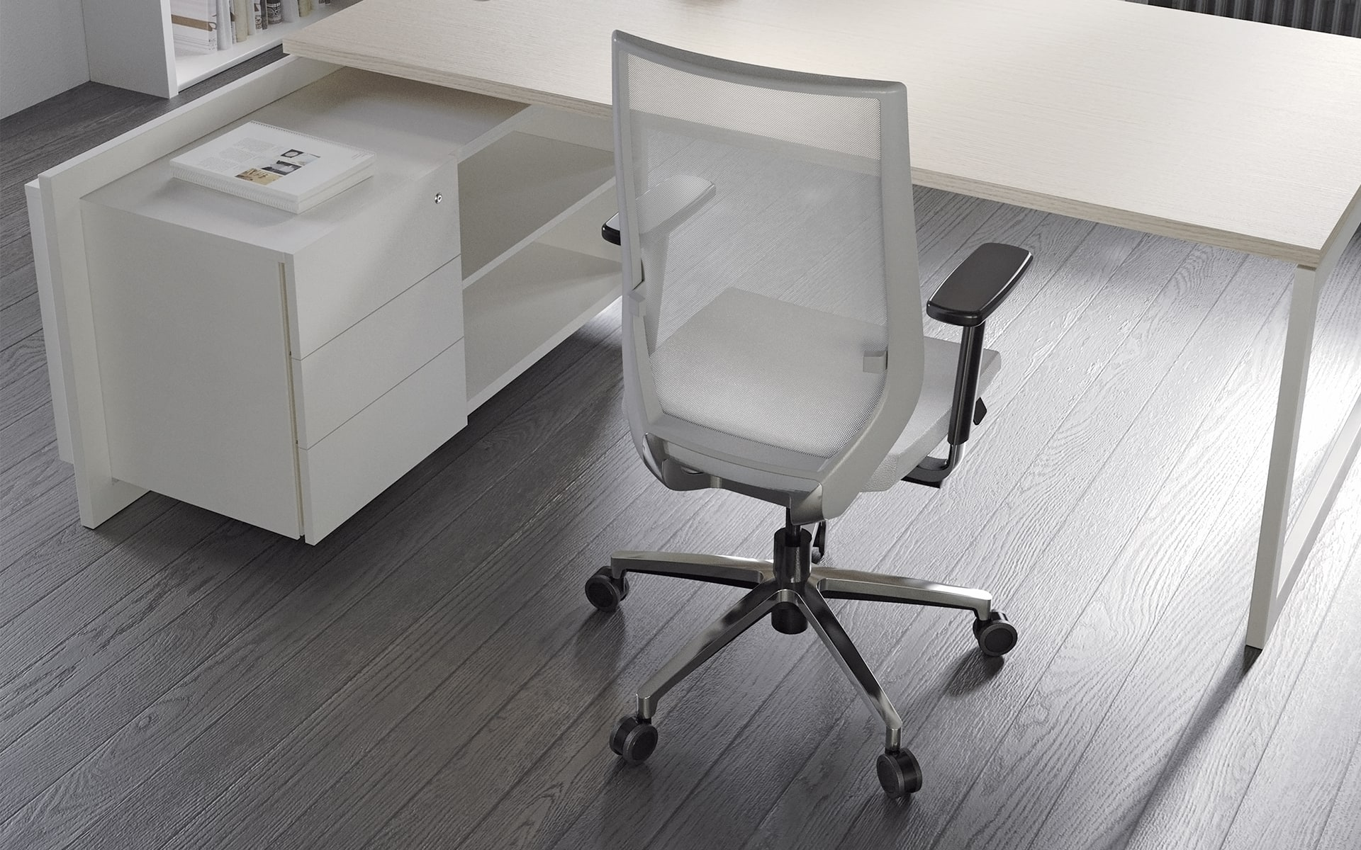 White Forma 5 Eben office chair by ITO Design at minimalist desk