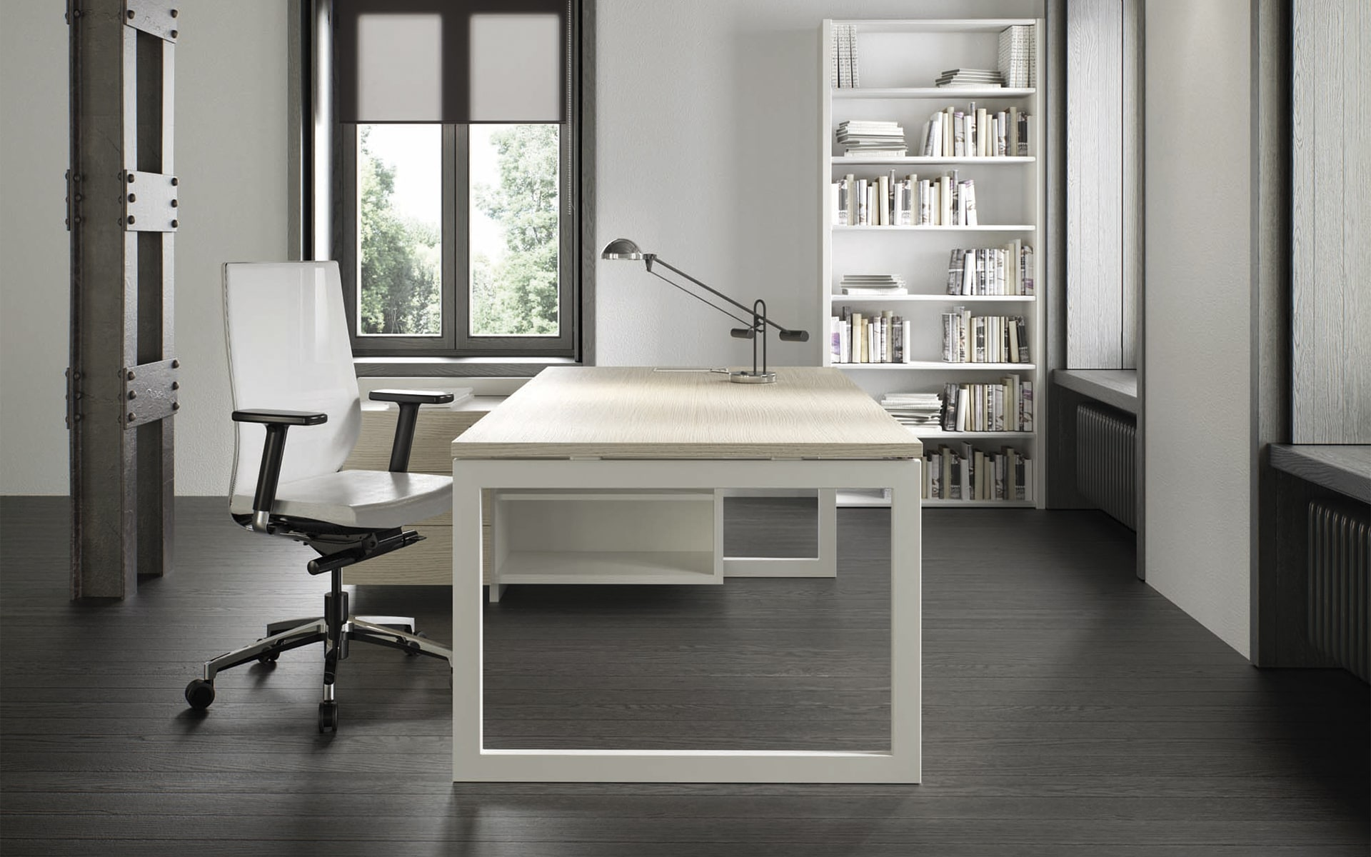 White Forma 5 Eben office chair by ITO Design in monochrome office
