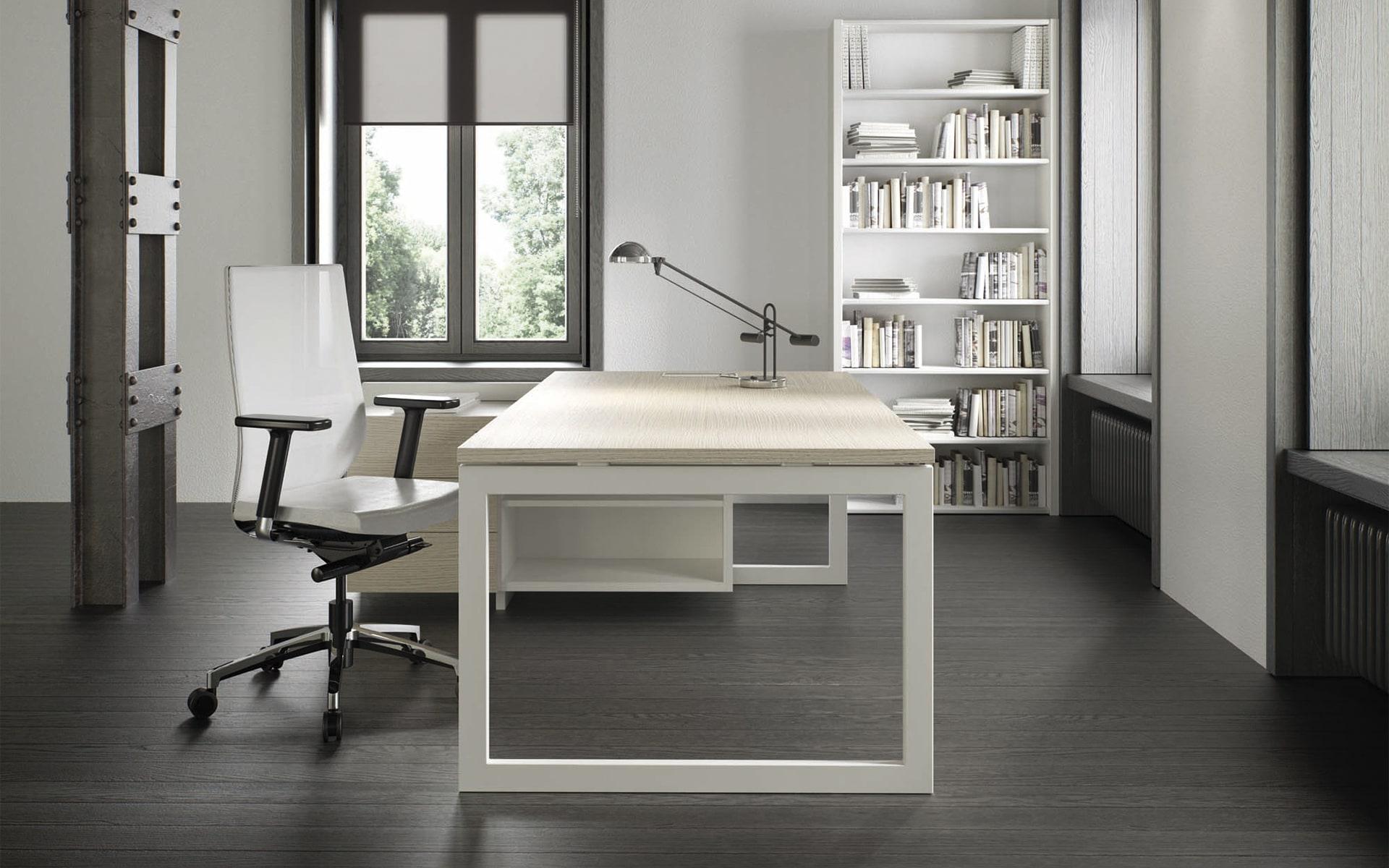 Weisser Forma 5 Eben Bürostuhl von ITO Design in monochromem Büro
