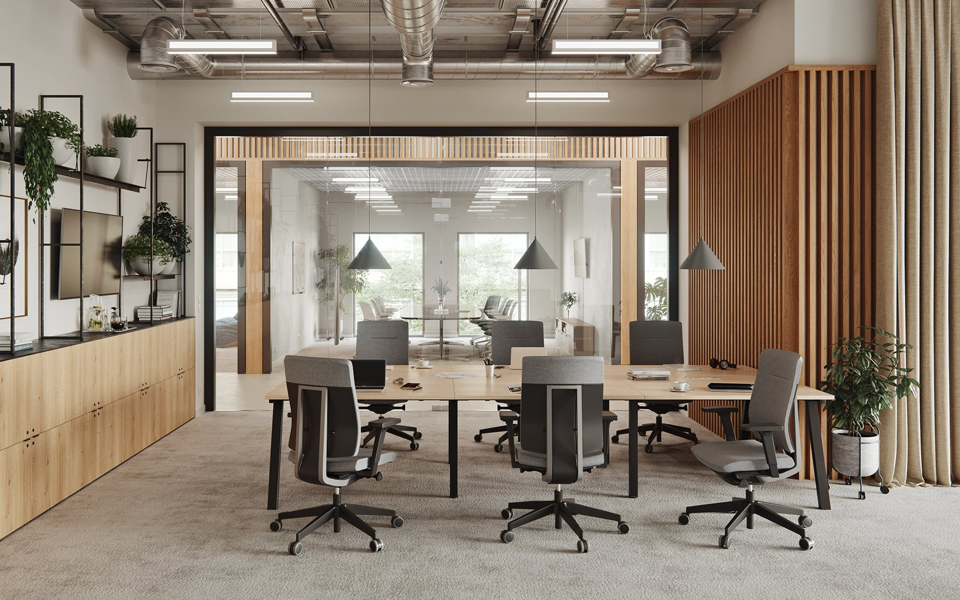Modern conference room with six Profim Xenon office chairs by ITO Design with grey upholstery