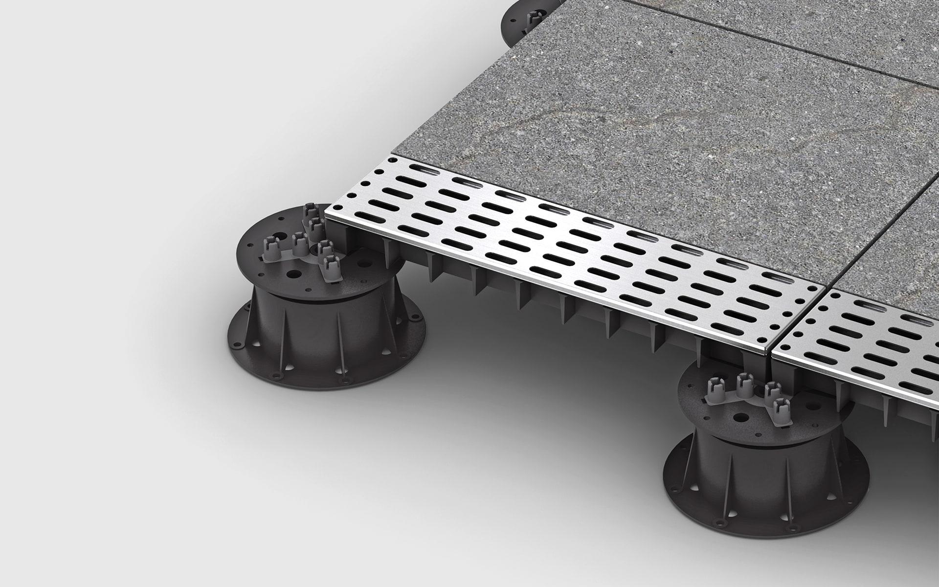 Nahaufnahme der Verbindungselemente des modularen Terrassensystems Sunderra Scape von ITO Design