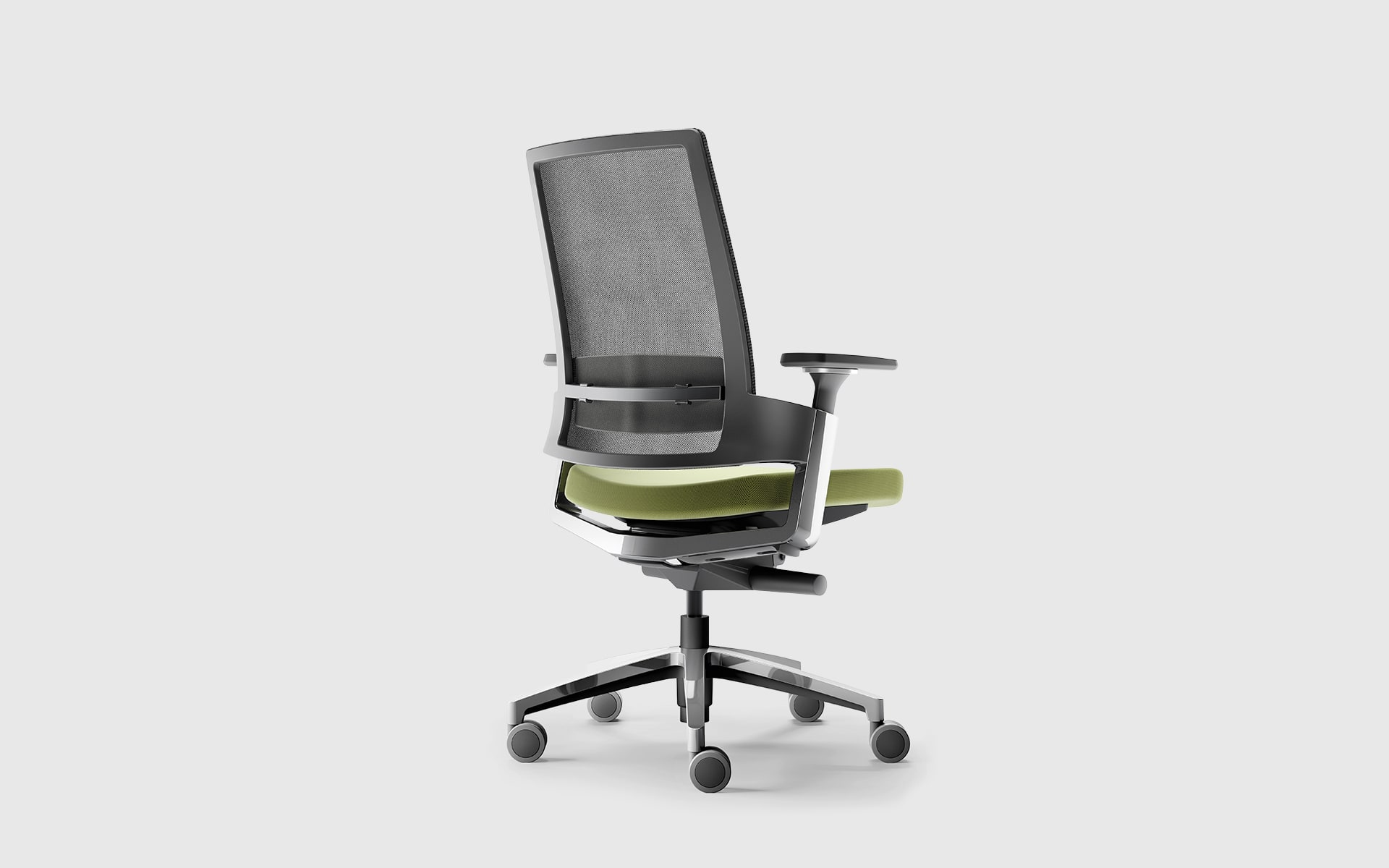 Forma 5 3.60 office chair by ITO Design with ergonomic gray backrest and green upholstery