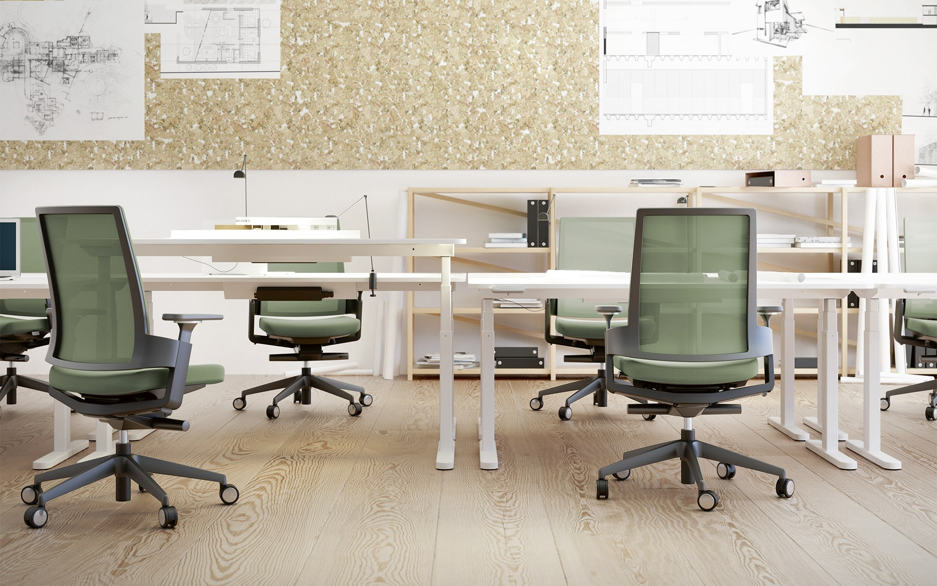 Green Forma 5 3.60 office chairs by ITO Design in architectural office