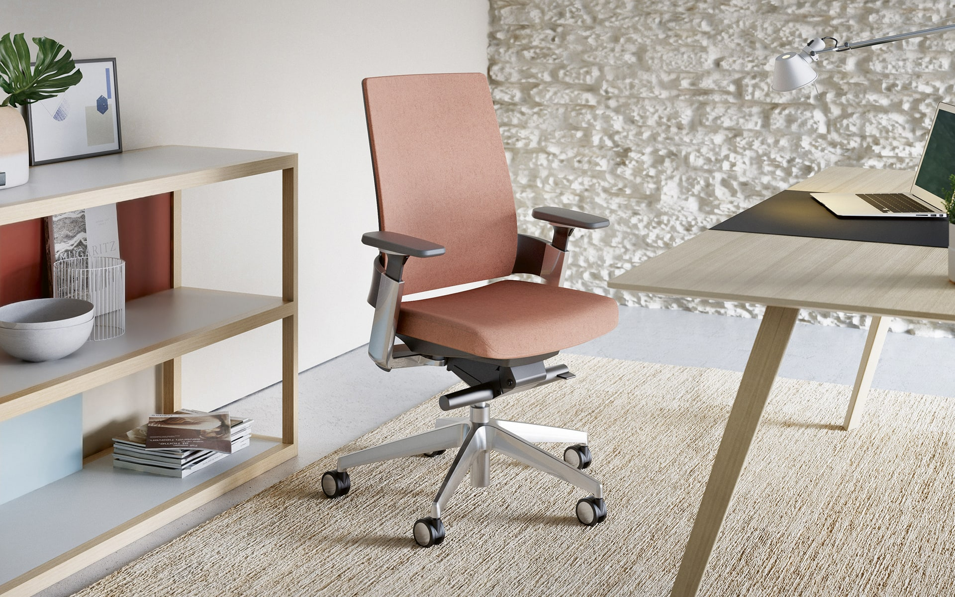 Forma 5 3.60 office chair by ITO Design with orange upholstery in stylish office