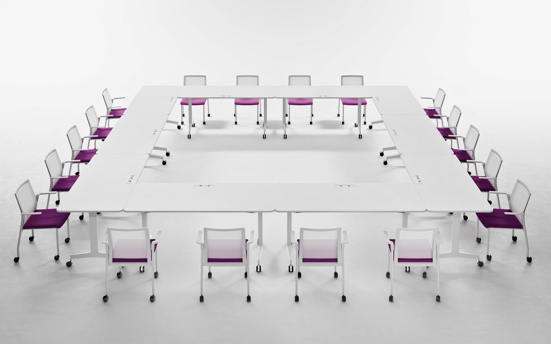 Minimalist conference room with white Forma 5 Folding Travel folding tables by ITO Design