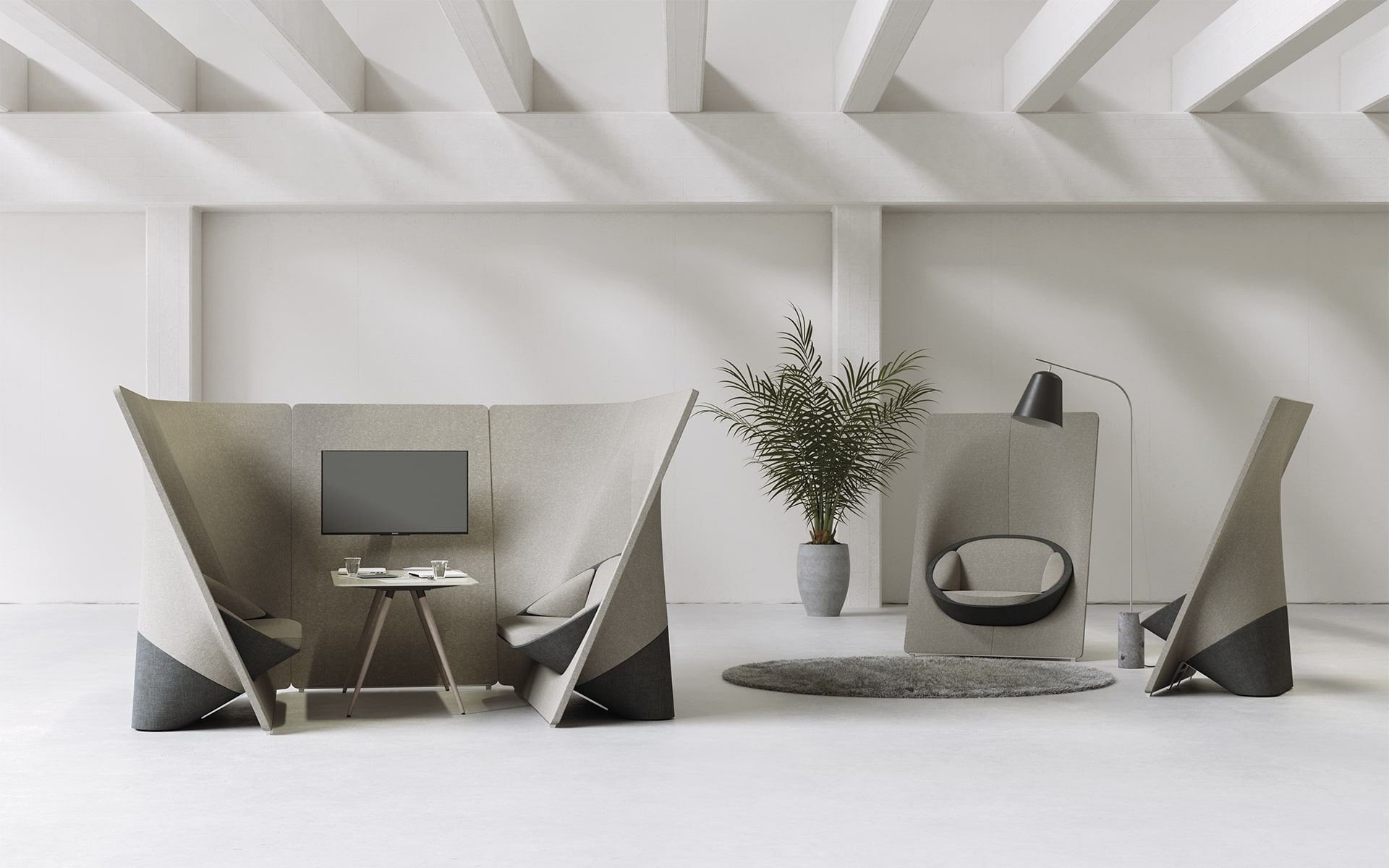 Profim Wyspa Lounge Sitzsystem von ITO Design in taupe in puristischem hellen Raum