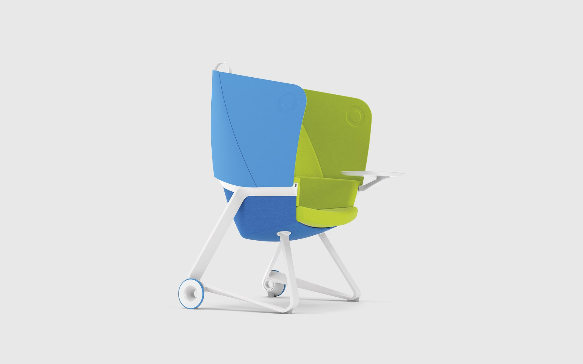 BASF TeamUP chair by ITO Design in bright blue, bright green and white
