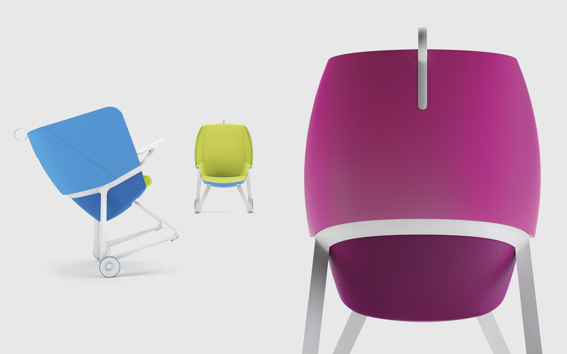 Three BASF TeamUP chairs by ITO Design in bright blue, bright green and shocking pink