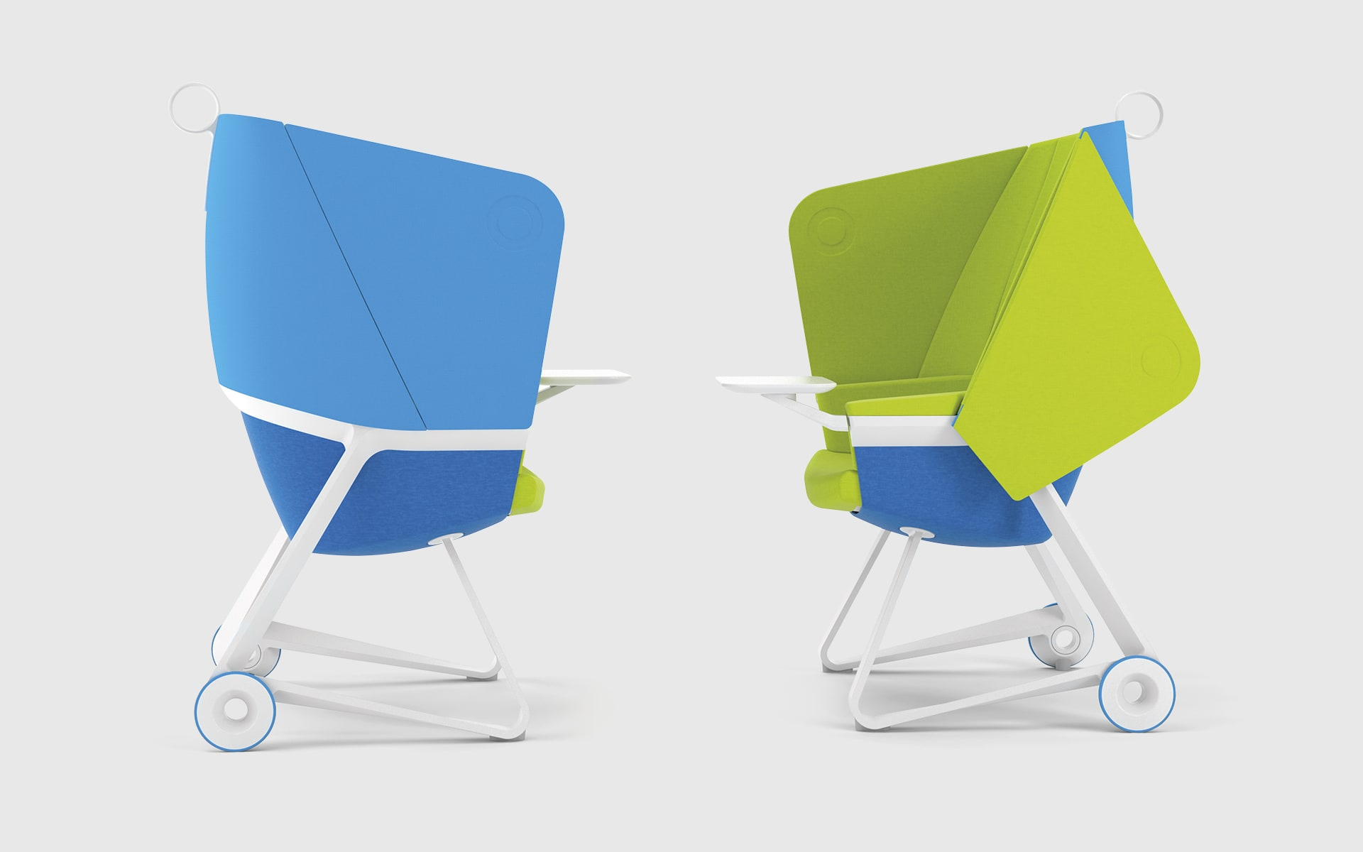 Two BASF TeamUP chairs by ITO Design face each other