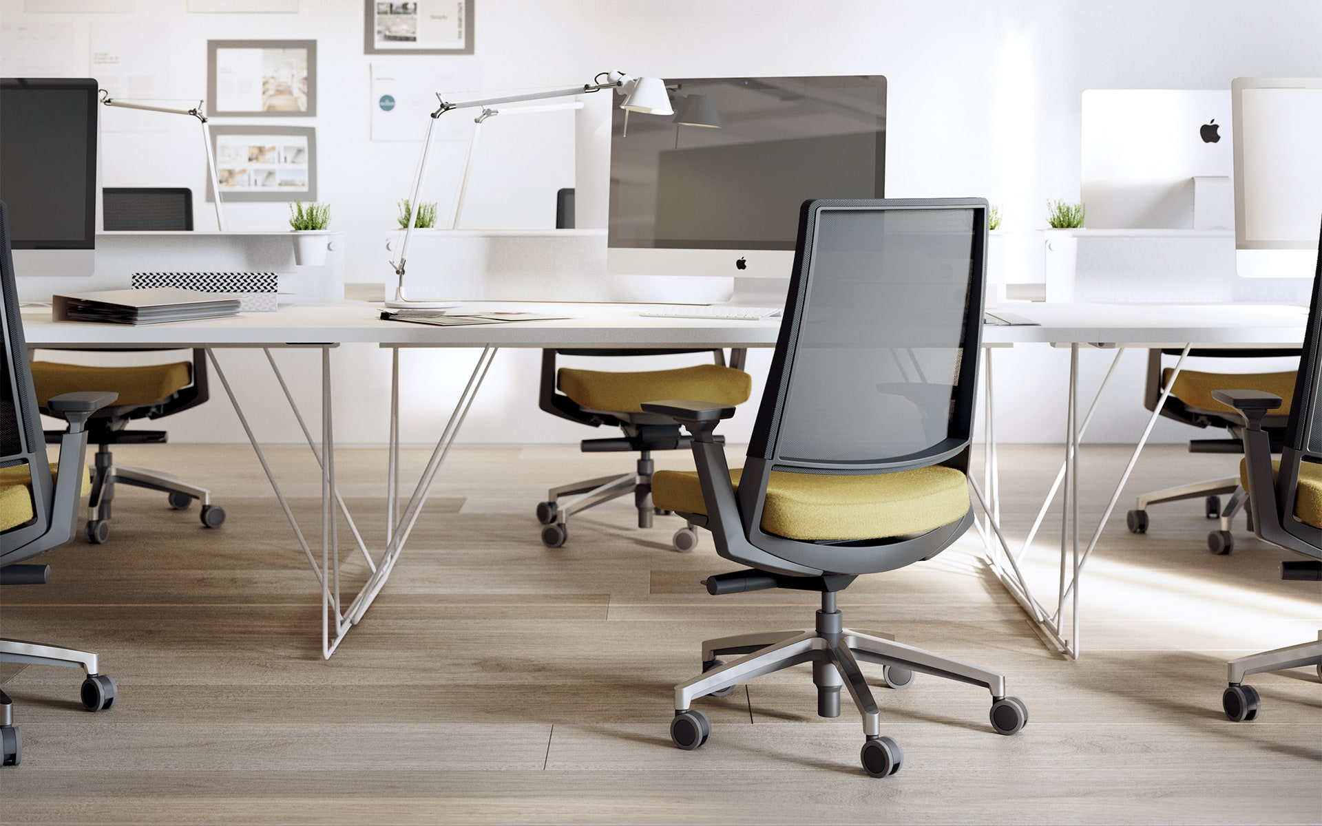 Forma5 Kineo office chairs by ITO Design with ochre upholstery in modern group workspace