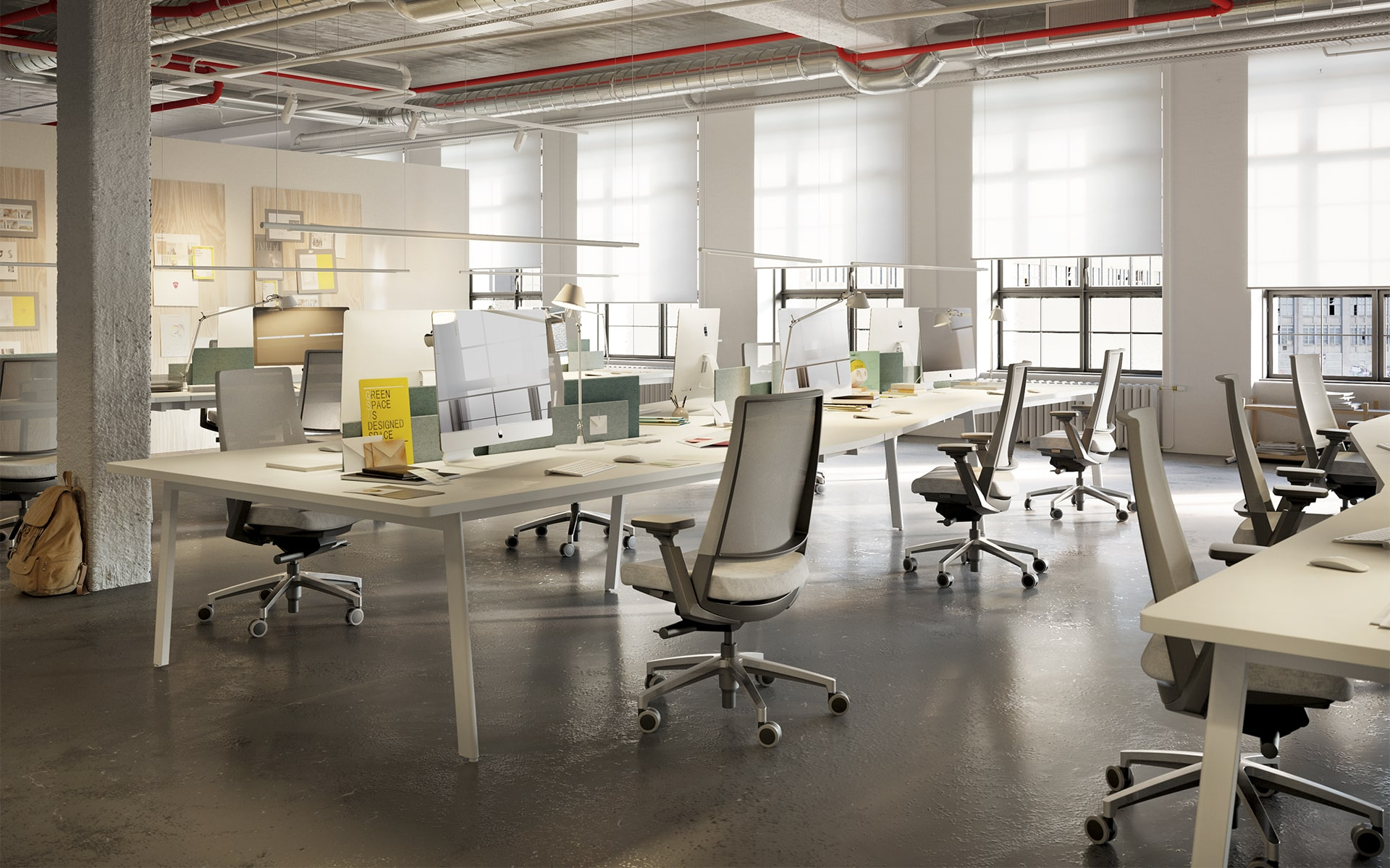 Stylish industrial style open space office, furnished with Forma5 Kineo office chairs by ITO Design