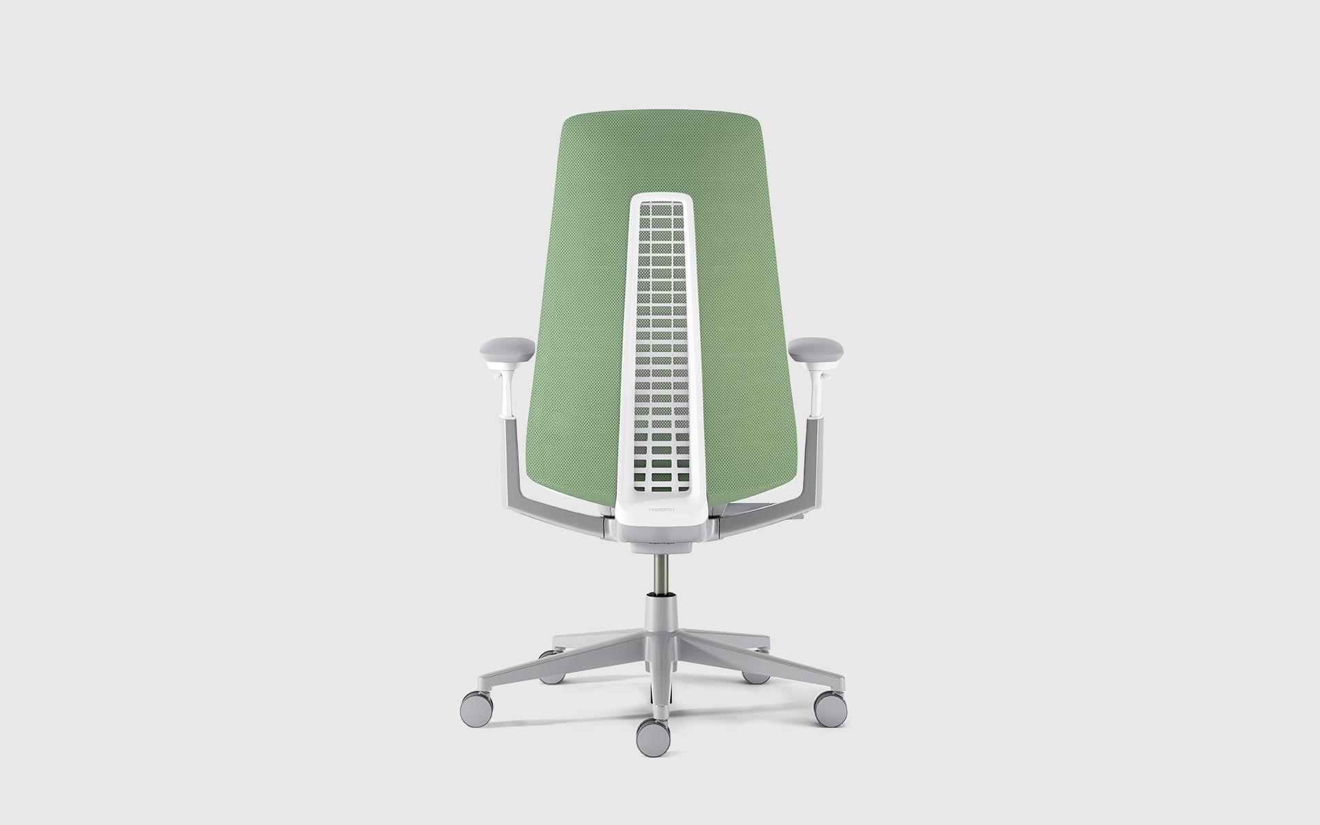 Haworth Fern office chair by ITO Design with green backrest whose functionality is inspired by the structure of a fern