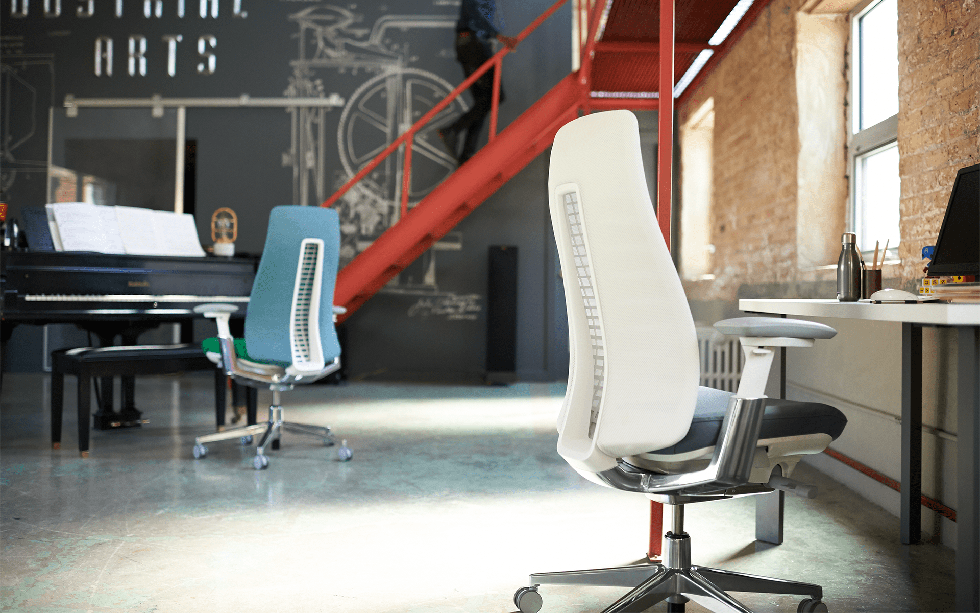 Haworth Fern office chairs by ITO Design in white and blue in modern loft