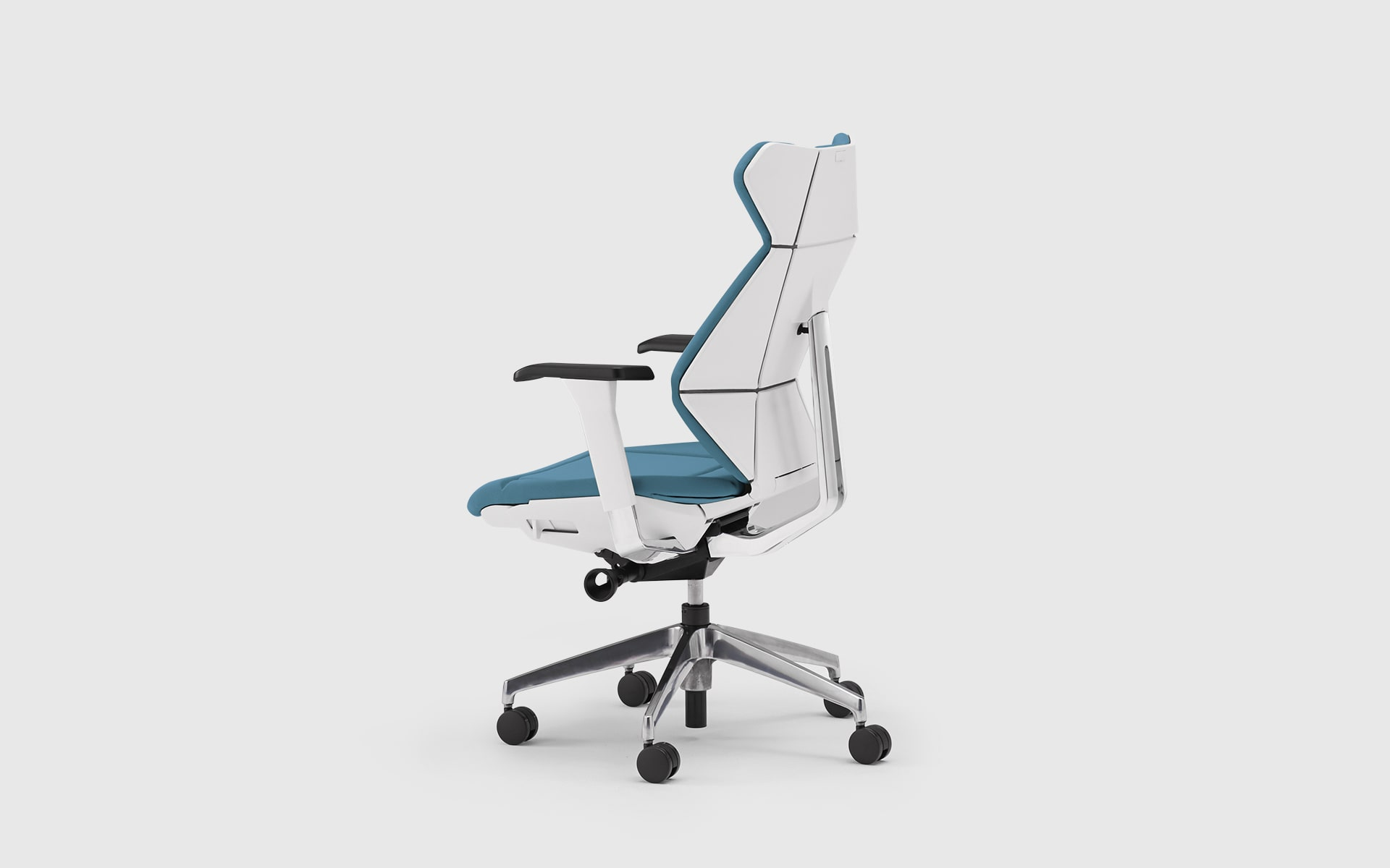 ITOKI FF office chair by ITO Design with origami look, white backrest and blue upholstery