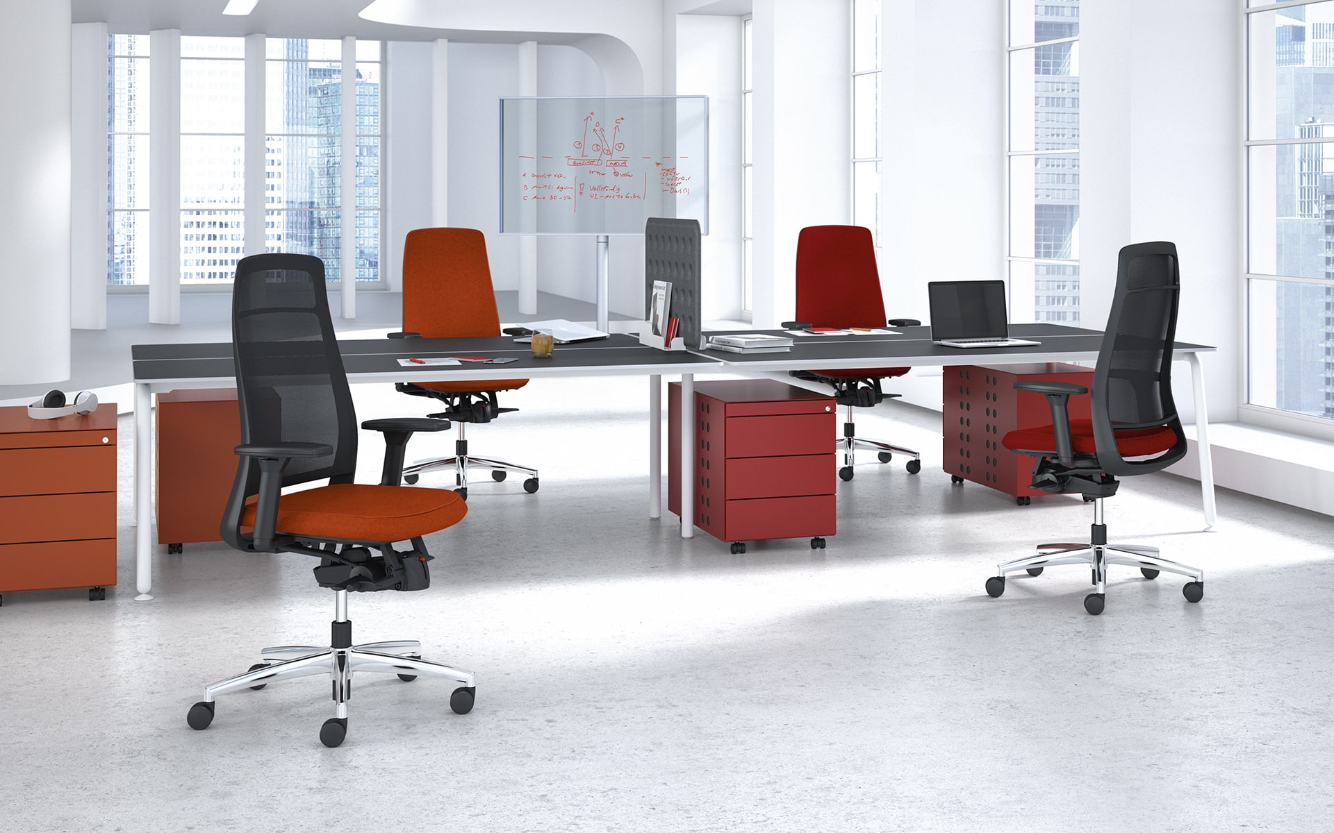 Modern, light-flooded group workspace with four K+N TensaNext swivel chairs by ITO Design in red-black