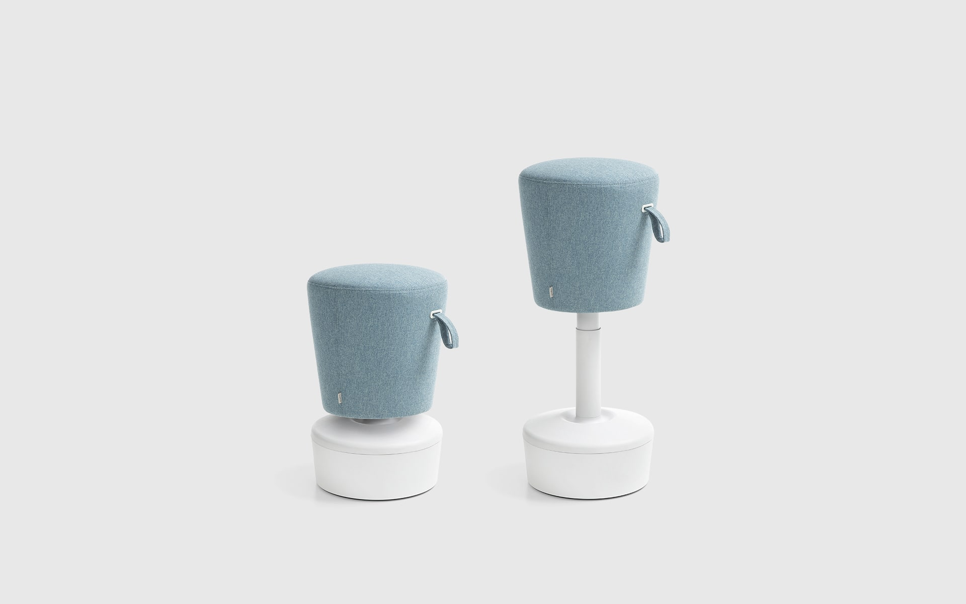 Profim Mickey stools by ITO Design in white and light blue