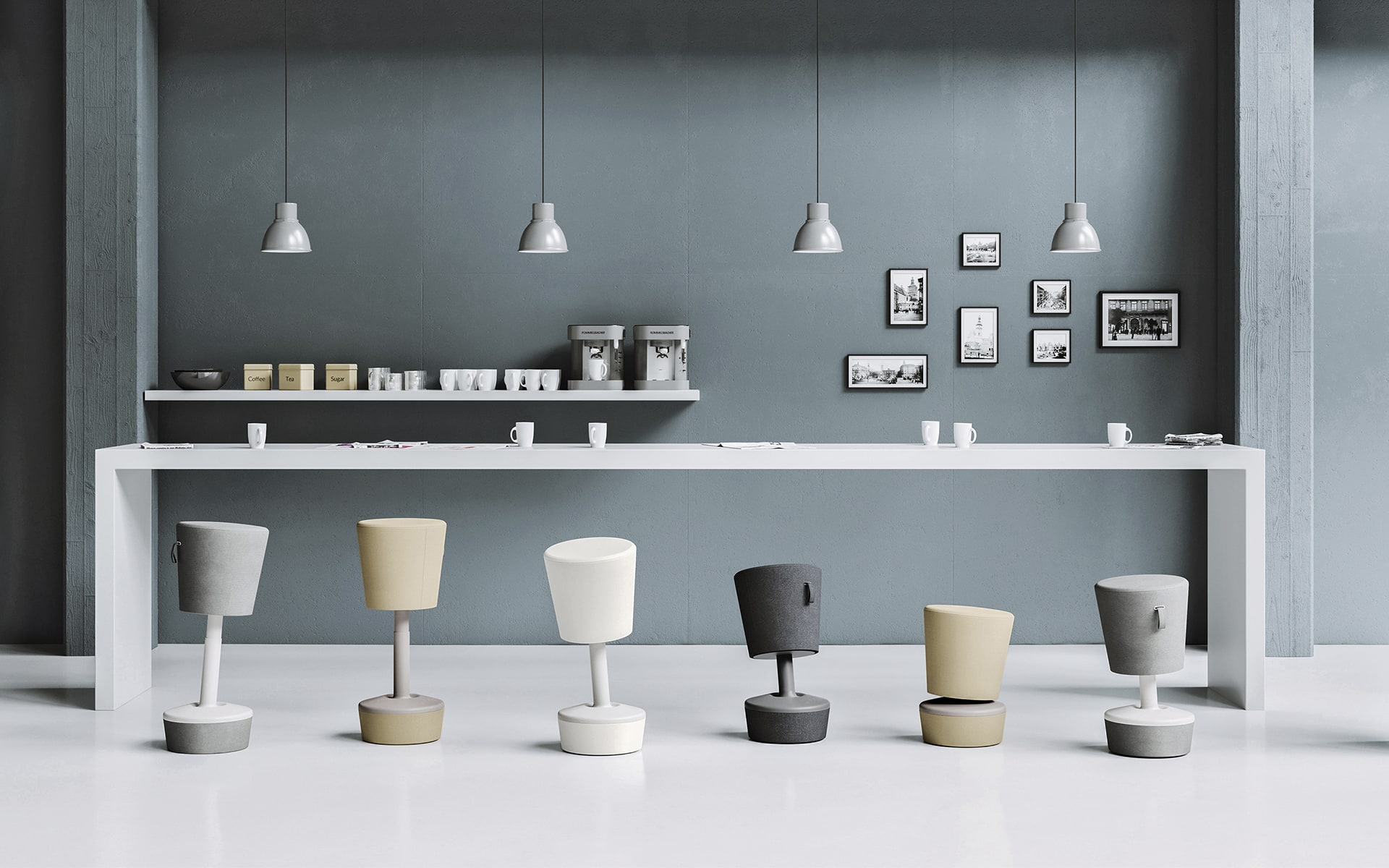 Six Profim Mickey stools by ITO Design of different heights in natural colors in modern standing workspace