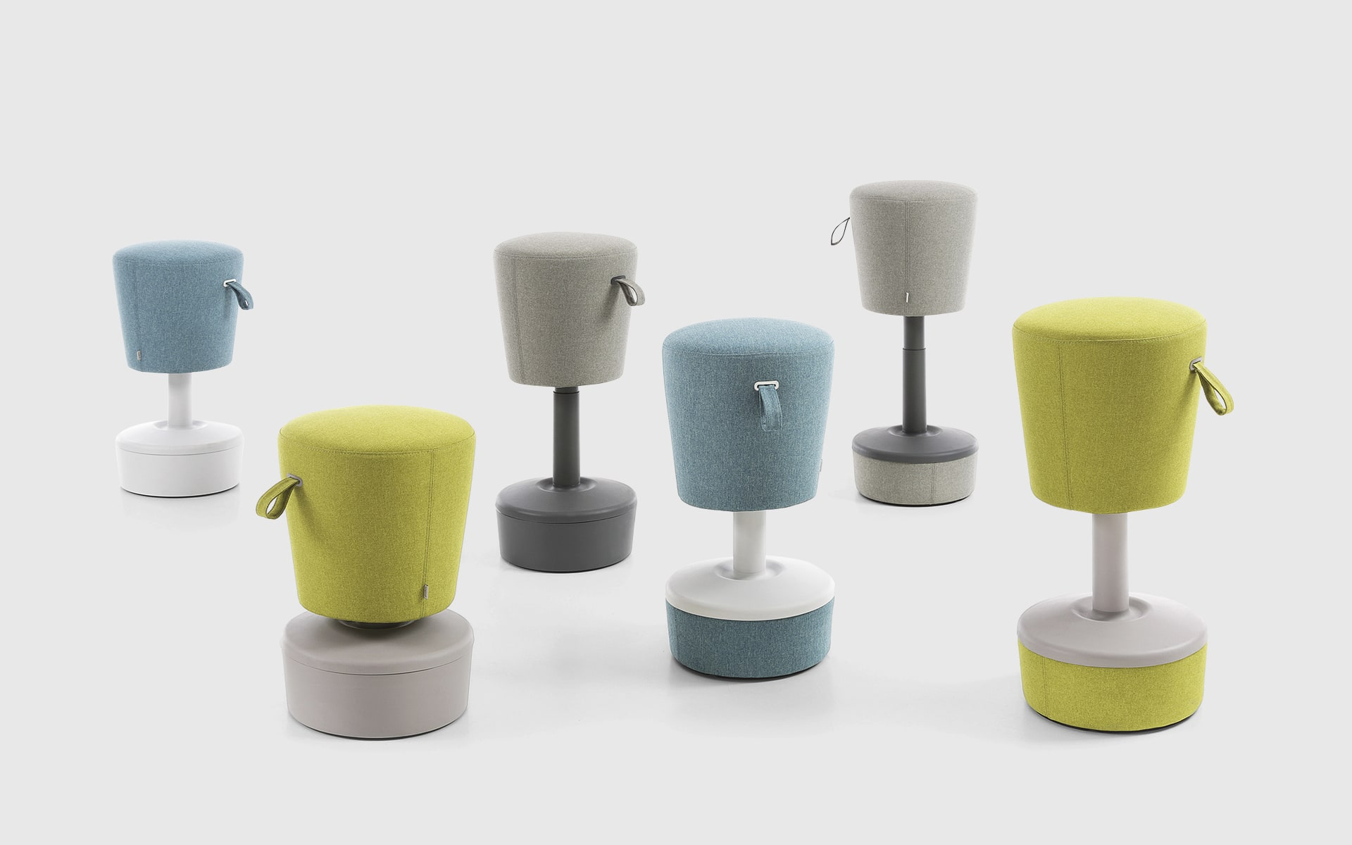 Six Profim Mickey stools by ITO Design in light blue, yellow green and grey