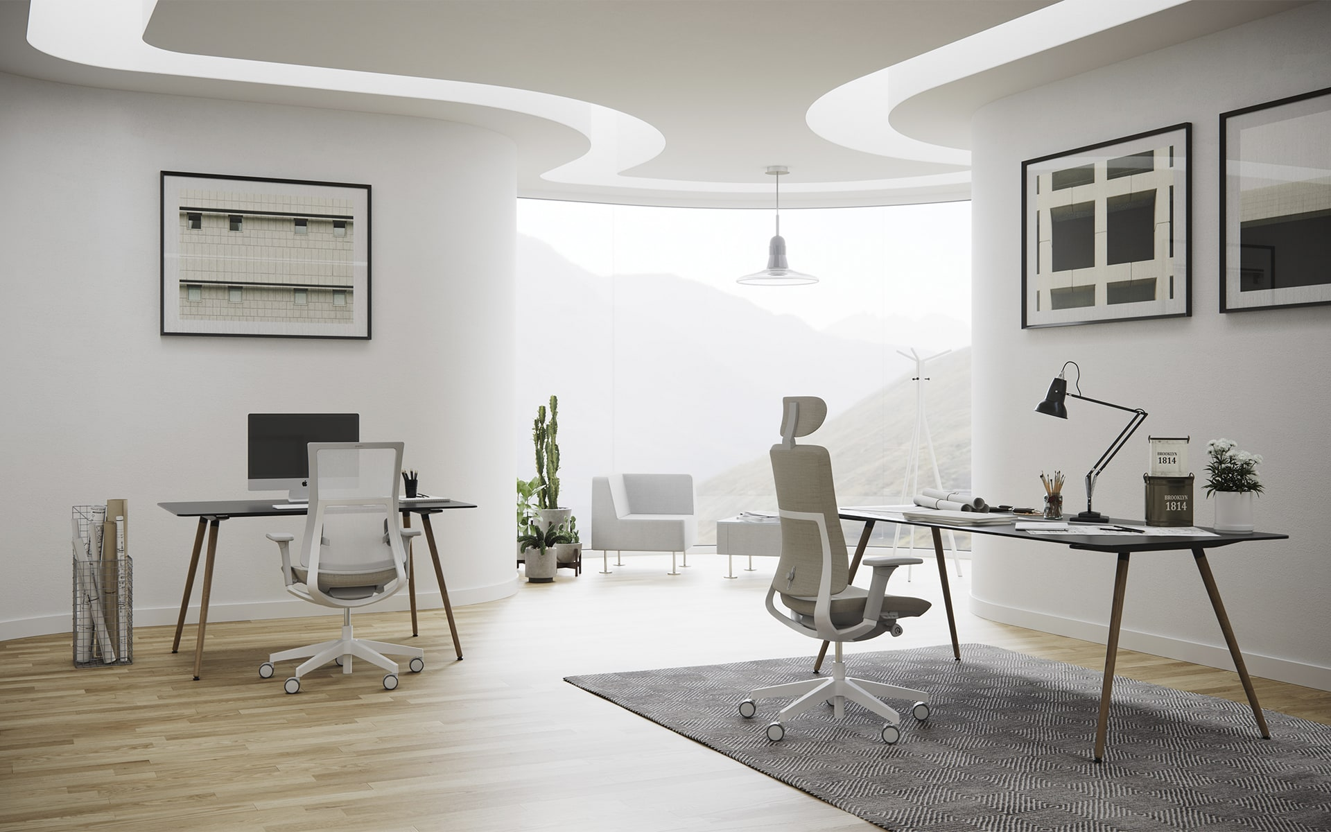 Stylish group workspace with four Profim Violle office chairs by ITO Design in white, salmon and grey