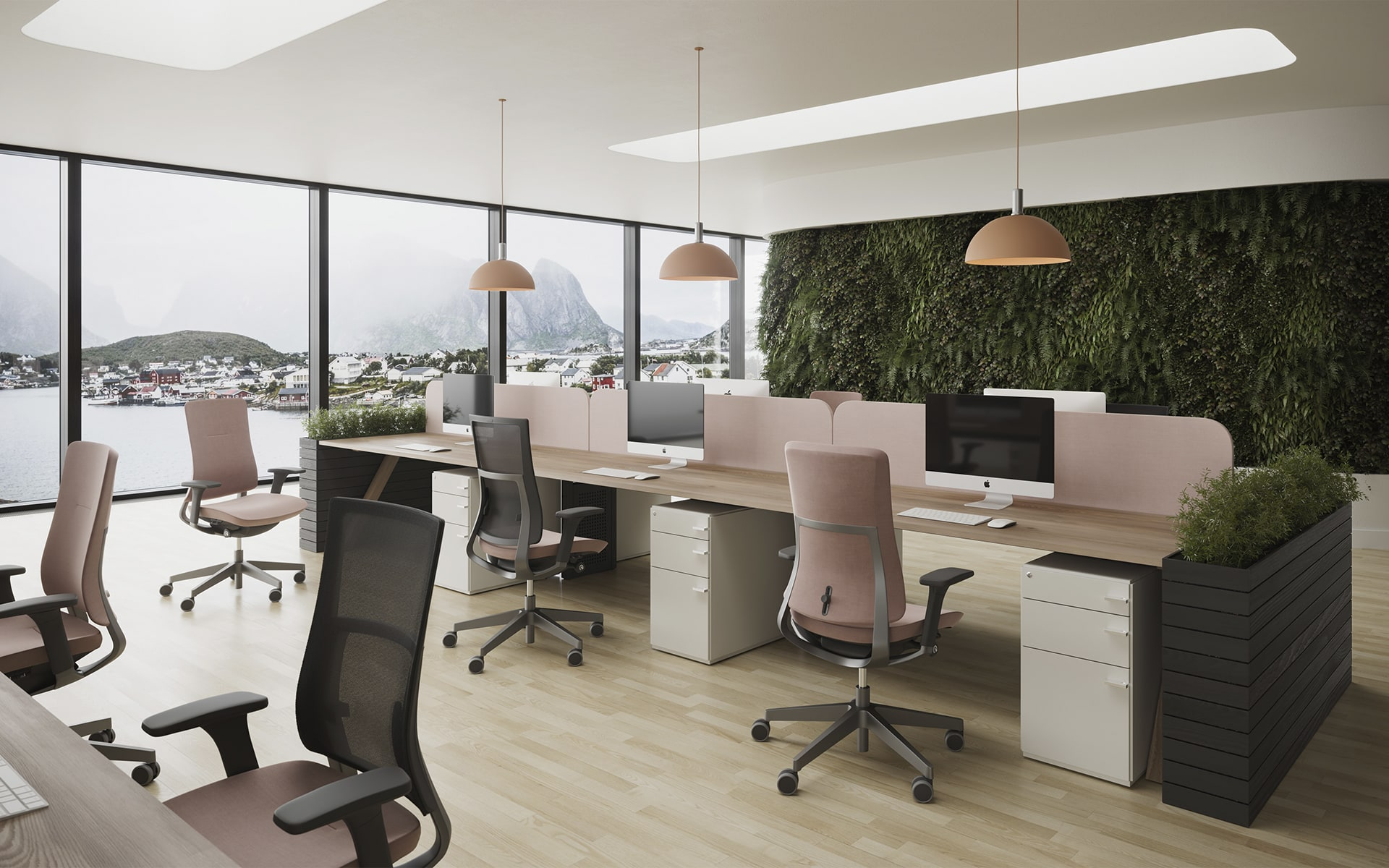 Several Profim Violle office chairs in dusky pink in stylish open space office with large window facade and view of a fjord