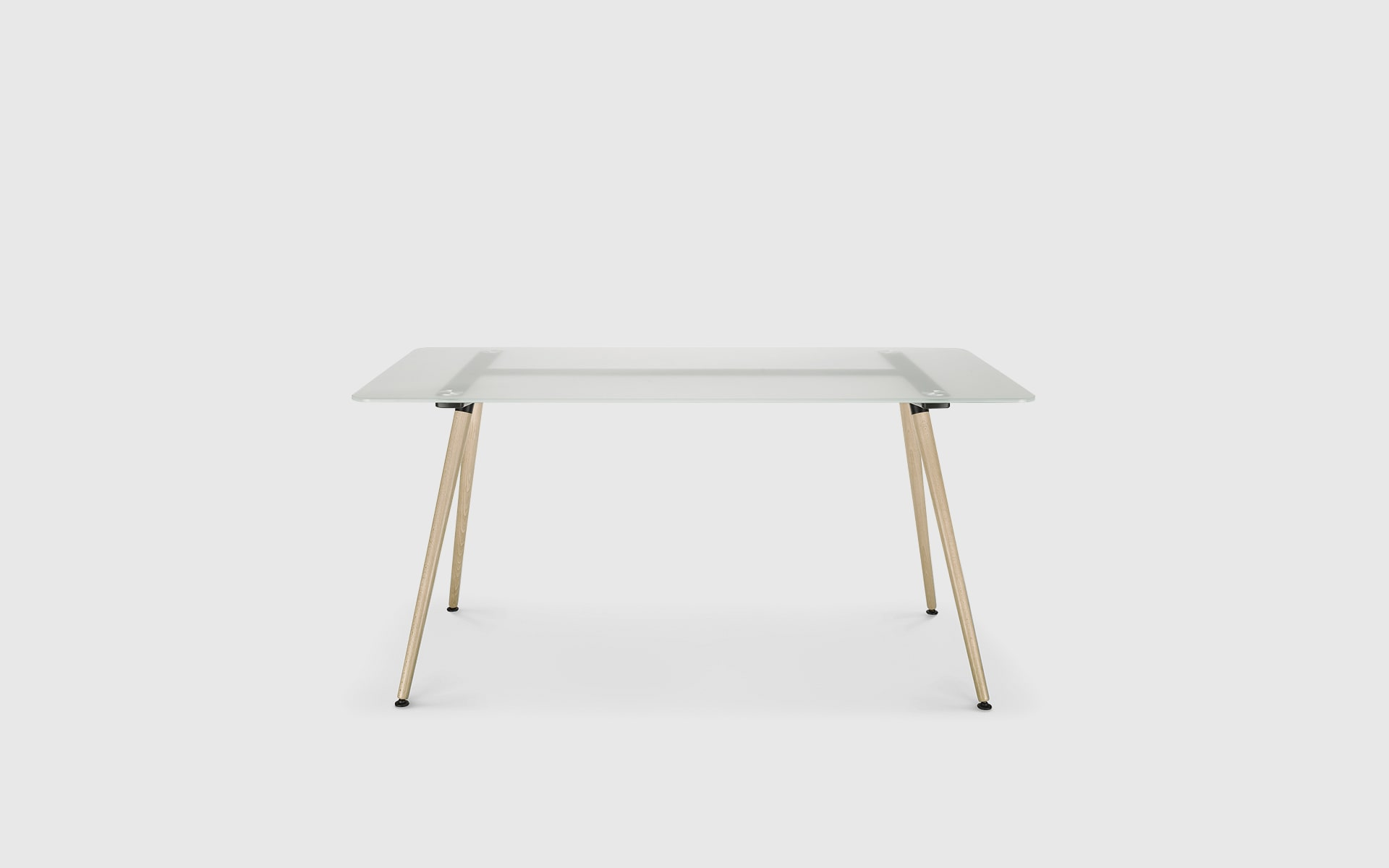 Profim Sam table by ITO Design with milk glass tabletop and natural wood legs