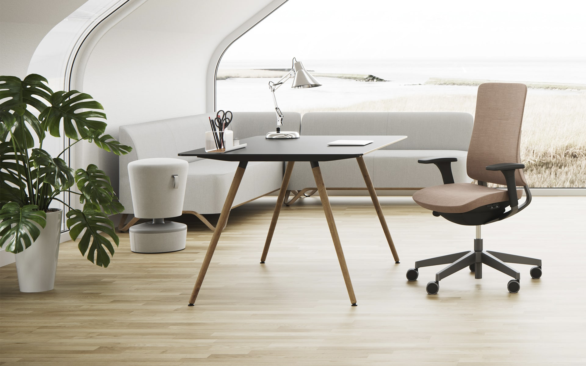Profim Sam table by ITO Design in modern office in natural tones with large windows