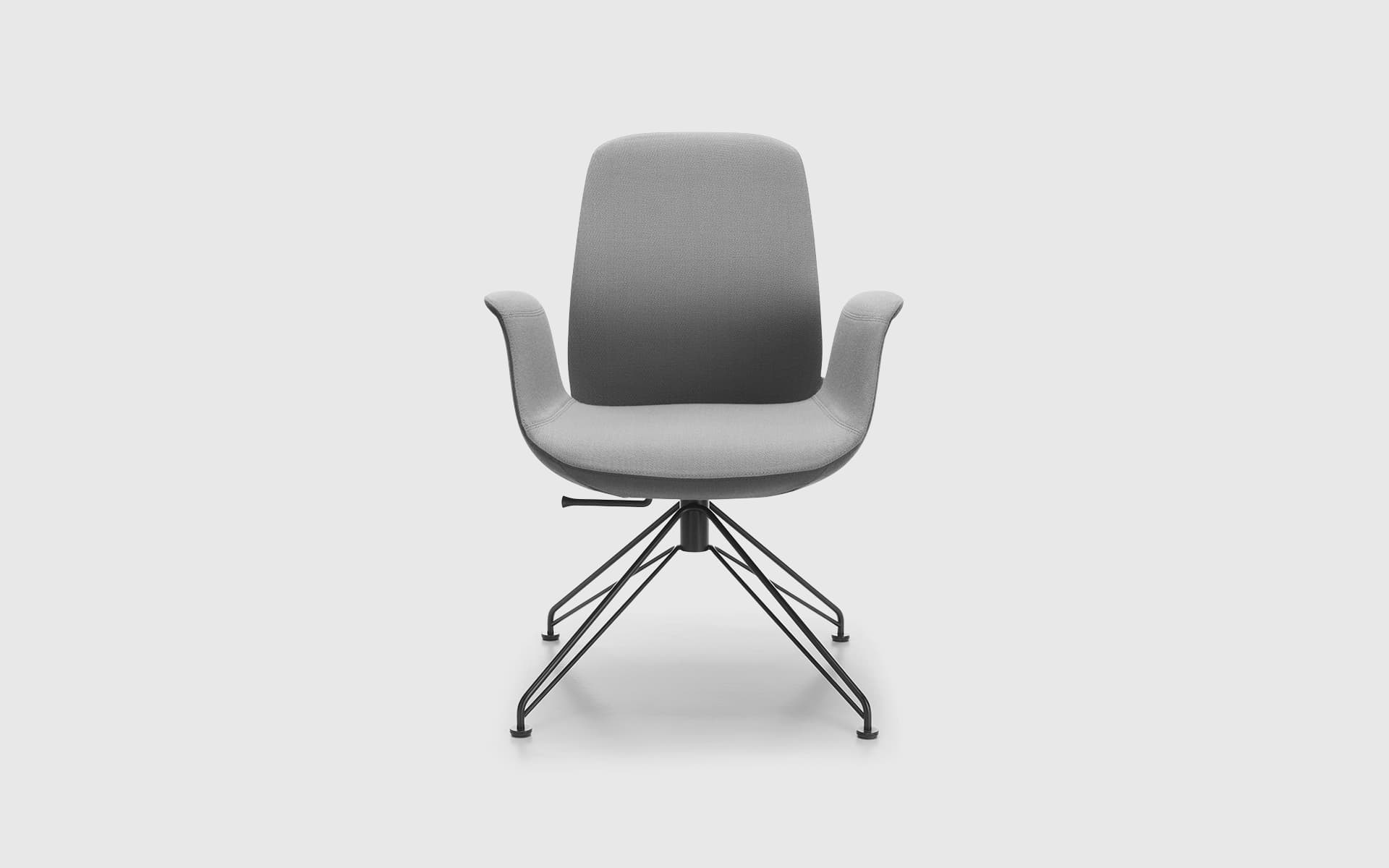 Frontal shot of the Profim Ellie office chair by ITO Design in light grey with metal legs