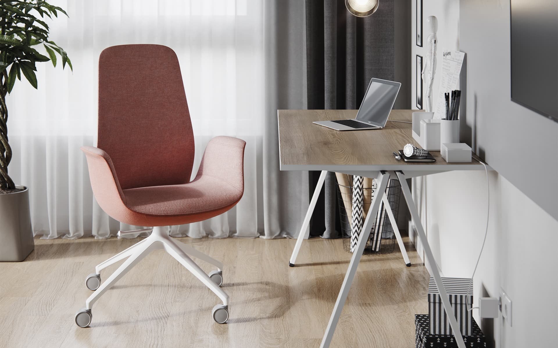 Salmon Profim Ellie office chair by ITO Design in Scandi chic home office