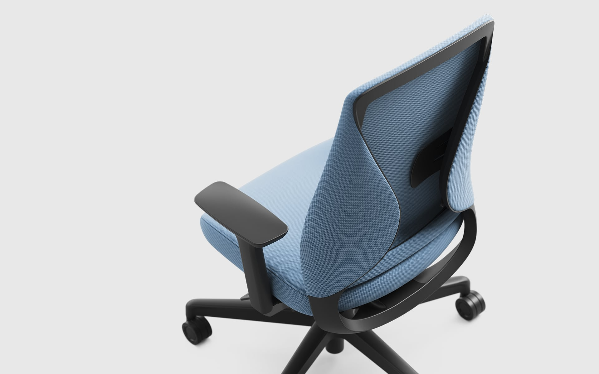 Bird's eye perspective on the Comfordy Silhouette Office chair by ITO Design with light blue upholstery