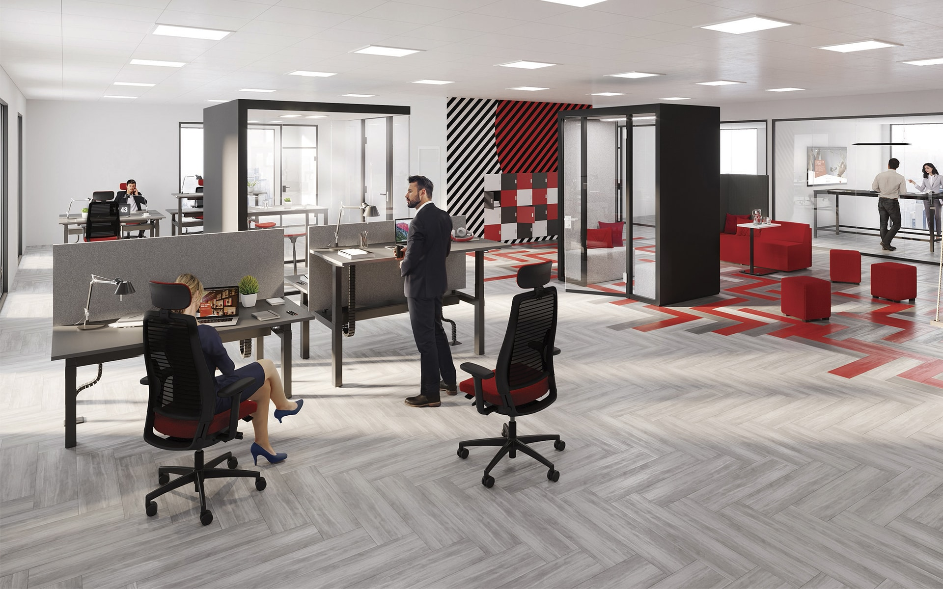 Design-Großraumbüro mit mehreren K+N Okay III Bürostühlen von ITO Design in schwarz und rot