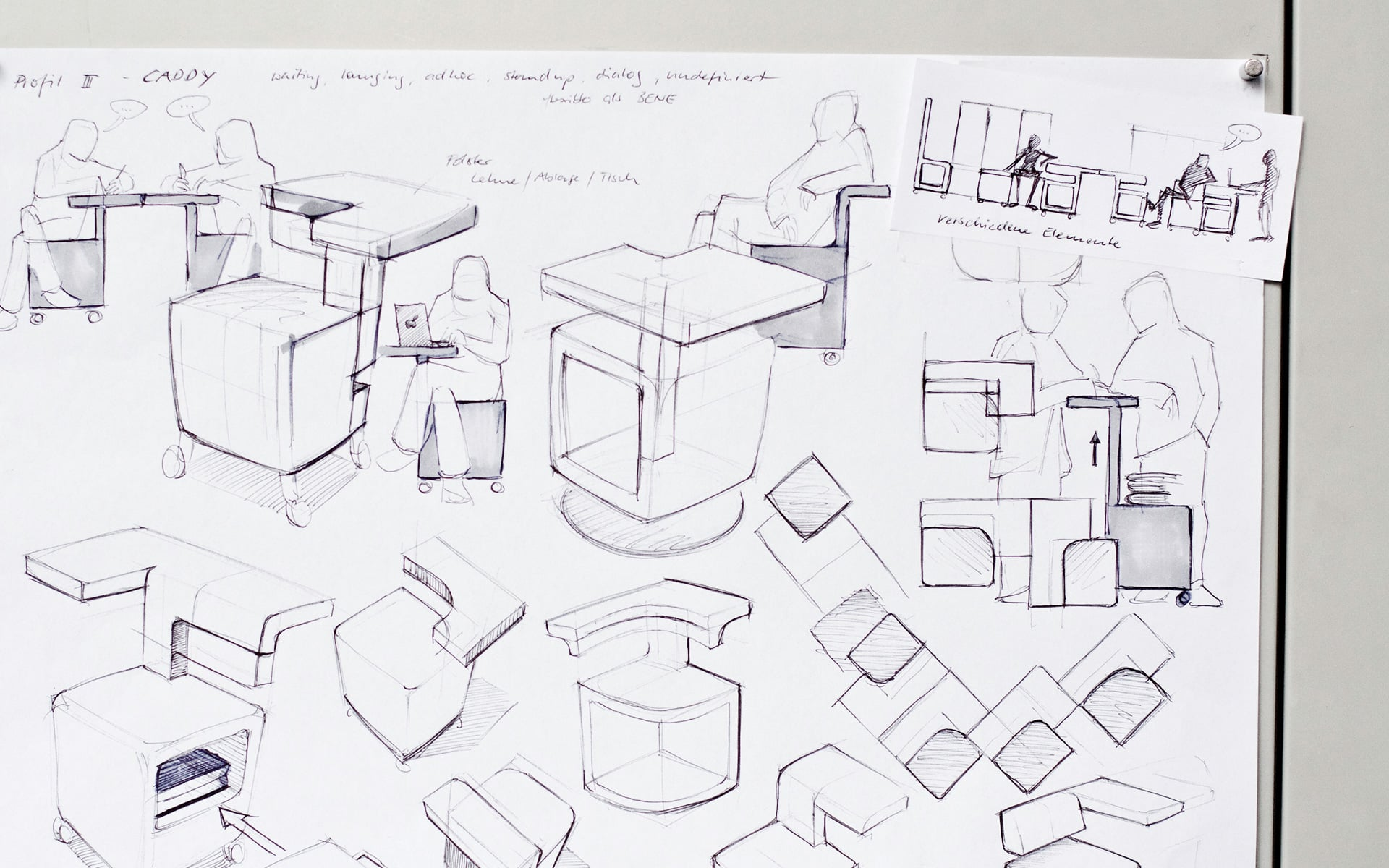 Sketches demonstrate the different possibilities of using a multifunctional ITO Design piece of office furniture