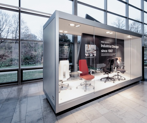 """In The """"Bayern Design Lounge"""", Ito Design Presents Its Office Chairs Haworth Fern And Itoki Ff."""