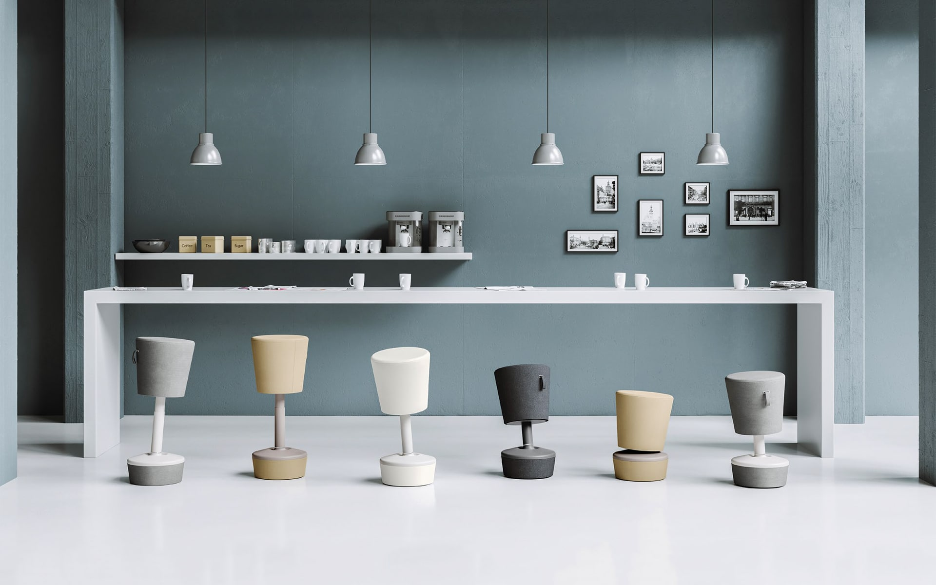 Profim Mickey office stools by ITO Design in black, white, gray and beige at modern group workplace