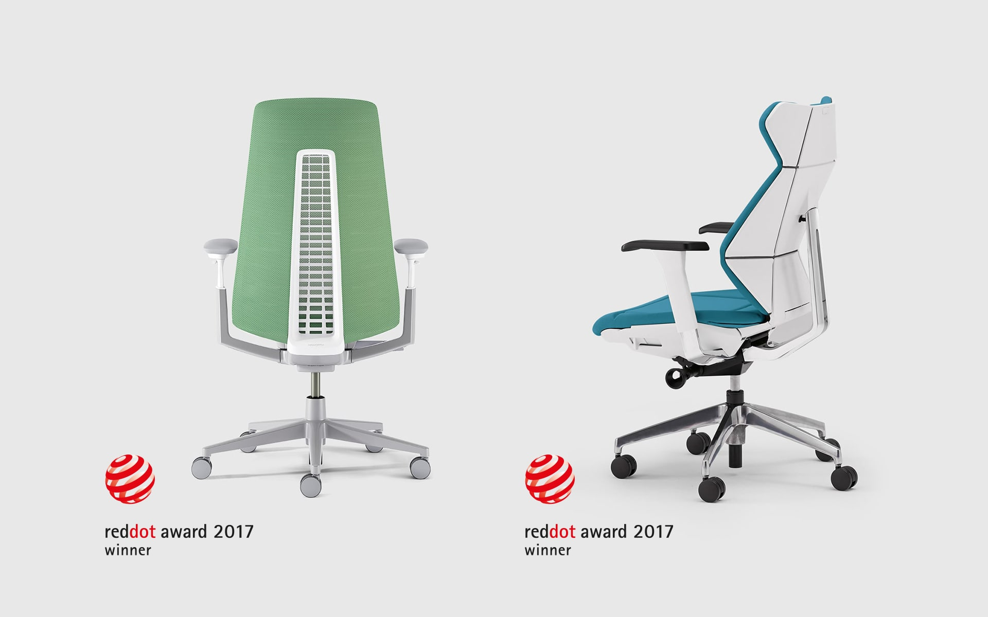 The Haworth Fern office chair in green and the ITOKI FF office chair in white and blue, both by ITO Design, with the logo of the Red Dot Design Award
